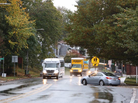Rain falls on Route 9 in Tarrytown Monday, Oct. 30,