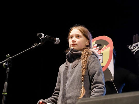 Swedish climate activist Greta Thunberg speaks at the climate march during the COP25 U.N. Climate Conference 2019. Thunberg is the youngest ever Time Person of the Year. (Clara Margais/DPA/Abaca Press/TNS)