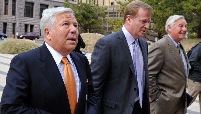 Patriots owner Robert Kraft, left, and NFL Commissioner Roger Goodell aren't so chummy these days.