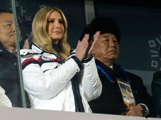 Ivanka Trump, U.S. President Donald Trump's daughter applauds during the closing ceremony of the 2018 Winter Olympics in Pyeongchang, South Korea, Sunday, Feb. 25, 2018. At rear right is Kim Yong Chol, vice chairman of North Korea's ruling Workers' Party Central Committee. (AP Photo/Natacha Pisarenko)