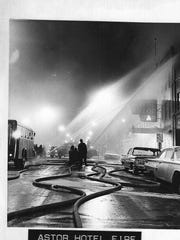 Firefighters at the fire that destroyed the Astor Hotel
