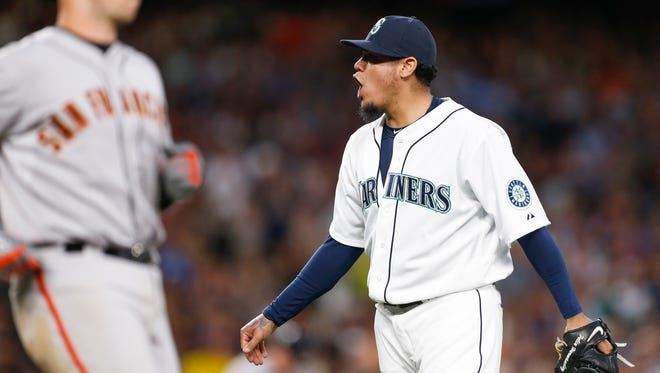 Felix Hernandez reacts after getting the final out of the eighth inning.