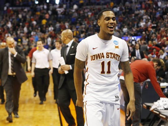 Iowa State guard Monte Morris (11) celebrates as he comes off the court Saturday, March 19, 2016, during the second round of the NCAA men's basketball tournament at the Pepsi Center in Denver.