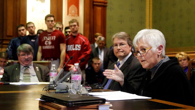 University of Iowa President Sally Mason speaks during a Statehouse hearing on Monday, Feb. 9, 2015, about a proposal to make AIB College of Business in Des Moines a part of the Board of Regents system.