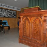 "This lectern, which has spent many years in the basement area of Dexter Avenue King Memorial Baptist Church in Montgomery - and was used as a prop in the recent movie ""Selma"" - is the actual one that was used by Dr. Martin Luther King Jr. in 1965 at the conclusion of the Selma-to-Montgomery March. Photo taken Wednesday, Feb. 18, 2015."