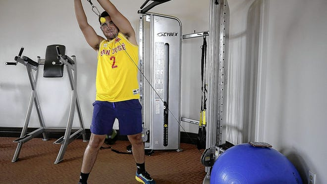 Leo Morales, 18, of Dublin works out June 29 at the Club at Corazon in Dublin. During the COVID-19 coronavirus pandemic, several central Ohio gyms and fitness centers have been facing down challenges posed by state restrictions, the summer season and the virus itself after being able to reopen more than a month ago.