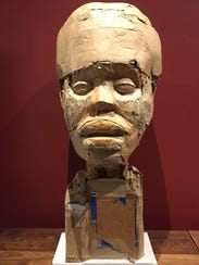 Artist Stephen Flemister's cardboard and wood sculpture