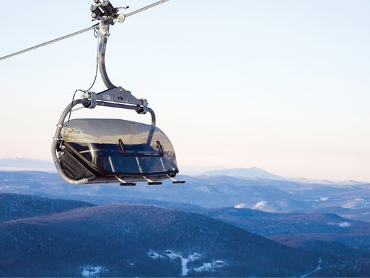 Mount Snow resort's Bluebird Lift featuring the bubble