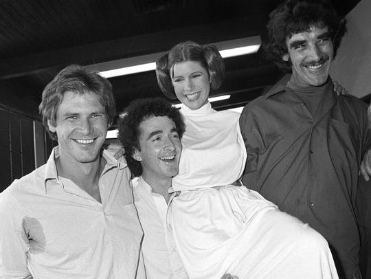In this Oct. 5, 1978, photo, from left, actors Harrison