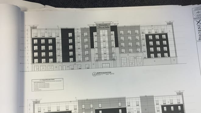 Drawings for the proposed Hampton Inn submitted to the city of Newport. It would be a six-story, 119-room hotel that would replace the Travelodge.