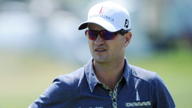 Zach Johnson on the driving range during a practice round for the 2015 PGA Championship golf tournament at Whistling Straits.
