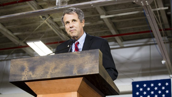 Sen. Sherrod Brown, D-Ohio, speaks at a campaign rally for Hillary Clinton on June 13, 2016, in Cleveland.