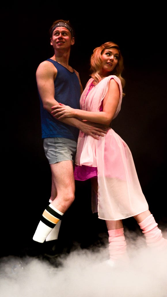 "Sonny (Nate McVicker) and Clio/Kira (Justine Rose Stillwell) skate into each other's lives in ""Xanadu."""