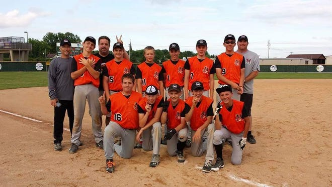 Marshfield won the 13U title during the Small Town state tournament last weekend in Marshfield, beating Wrightstown 7-6 in the championship game. The team is Max Heller, front left to right. Cole Hanson, Tyler Wein, Joey Goettl, Logan Mechler. Coach Wein, back left to right, Isaac Meverden, Coach Heller, Ben Gust, Austin Kuhlka, Emmett Meissner, Sam Hinson, Jared Cordova and Coach Gust,