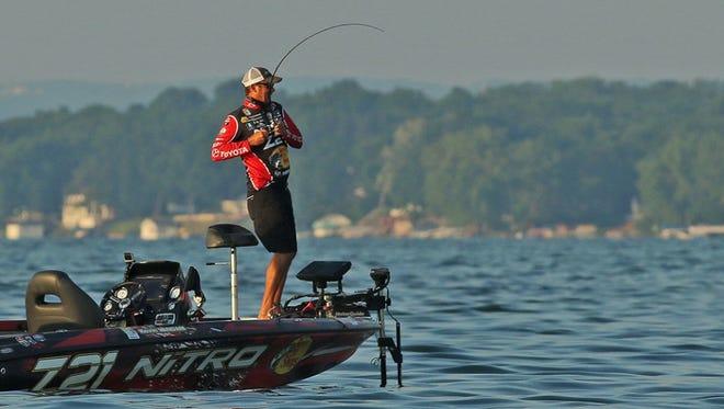 Veteran Kevin VanDam, 48, of Kalamazoo, Michigan in action on Cayuga Lake where he won his 22nd Elite title.