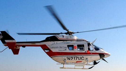 A Florence man was taken by AirCare to the UC Medical Center after being hit by a train early Saturday morning.