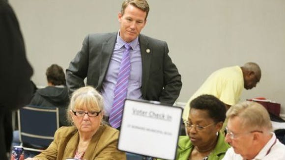 Secretary of State Jon Husted observes poll workers in Hamilton County.