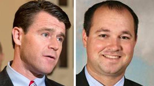 Rep. Todd Young, R-Ind., (left) and Rep. Marlin Stutzman, R-Ind.