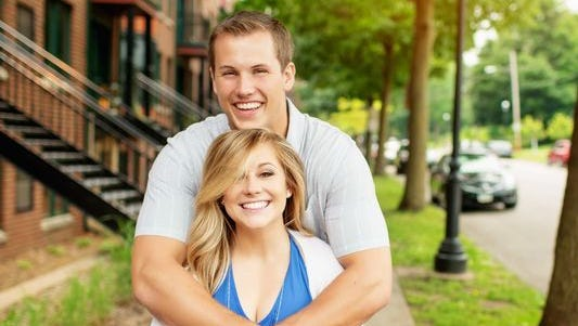 Shawn Johnson and  her husband, Andrew East.