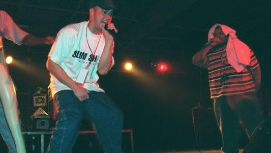 Eminem performing in September 1997 at the Palladium club in Roseville.