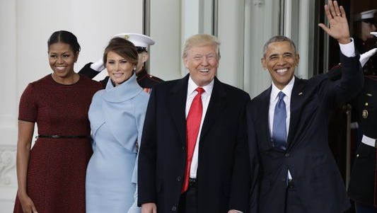 President Barack Obama and First Lady Michelle Obama give their best wishes to President-elect Donald Trump and his wife, Melania, as they leave the White House en route to the U.S. Capitol on Friday, Jan. 20, 2017.