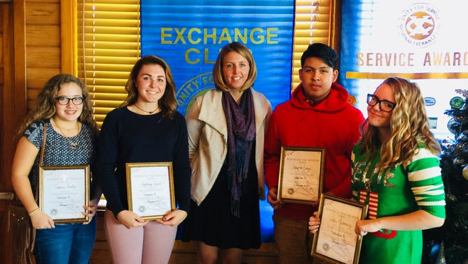 Sebastian Exchange Club recently recognized the following students, from left, Carmen Hauber, Sydney Spicer, Jessica Schmitt, student coordinator, Joaquin Luza and Lily Mahoney.