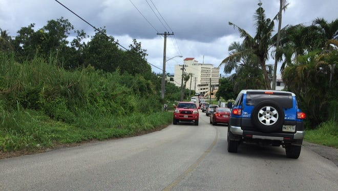 This file photo shows traffic backed up on Happy Landing Road due to lane closures on Route 1 in Tamuning.