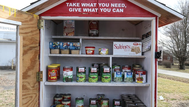 A re-stocked Shepherds Pantry location at Shepherdsville Church of the Nazarene.  The food pantry was developed by pastor Rob Beckett and now has 30 locations around Bullitt County.  People can take food or donate food at each location.