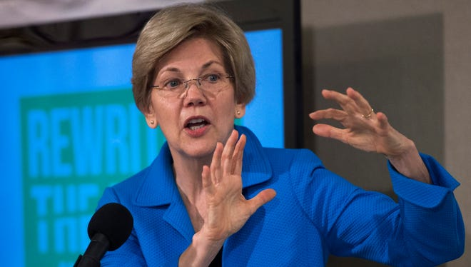 Sen. Elizabeth Warren, D-Mass., delivers remarks to the news media during a press conference May 12, 2015.