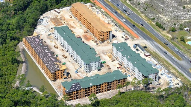 This aerial photo shows construction of the Sound at Navarre Beach apartments, which should be completed by fall. The complex is located on U.S. 98, featuring 250 luxury apartment units.