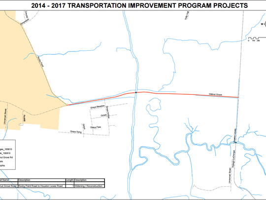 The red line shows the county project boundary on Walnut