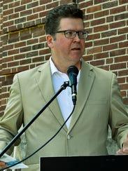 Commissioner David Keller speaks during a groundbreaking