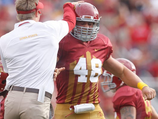 Iowa State's Cory Morrissey celebrates after recovering a fumble during a game last season against Iowa.