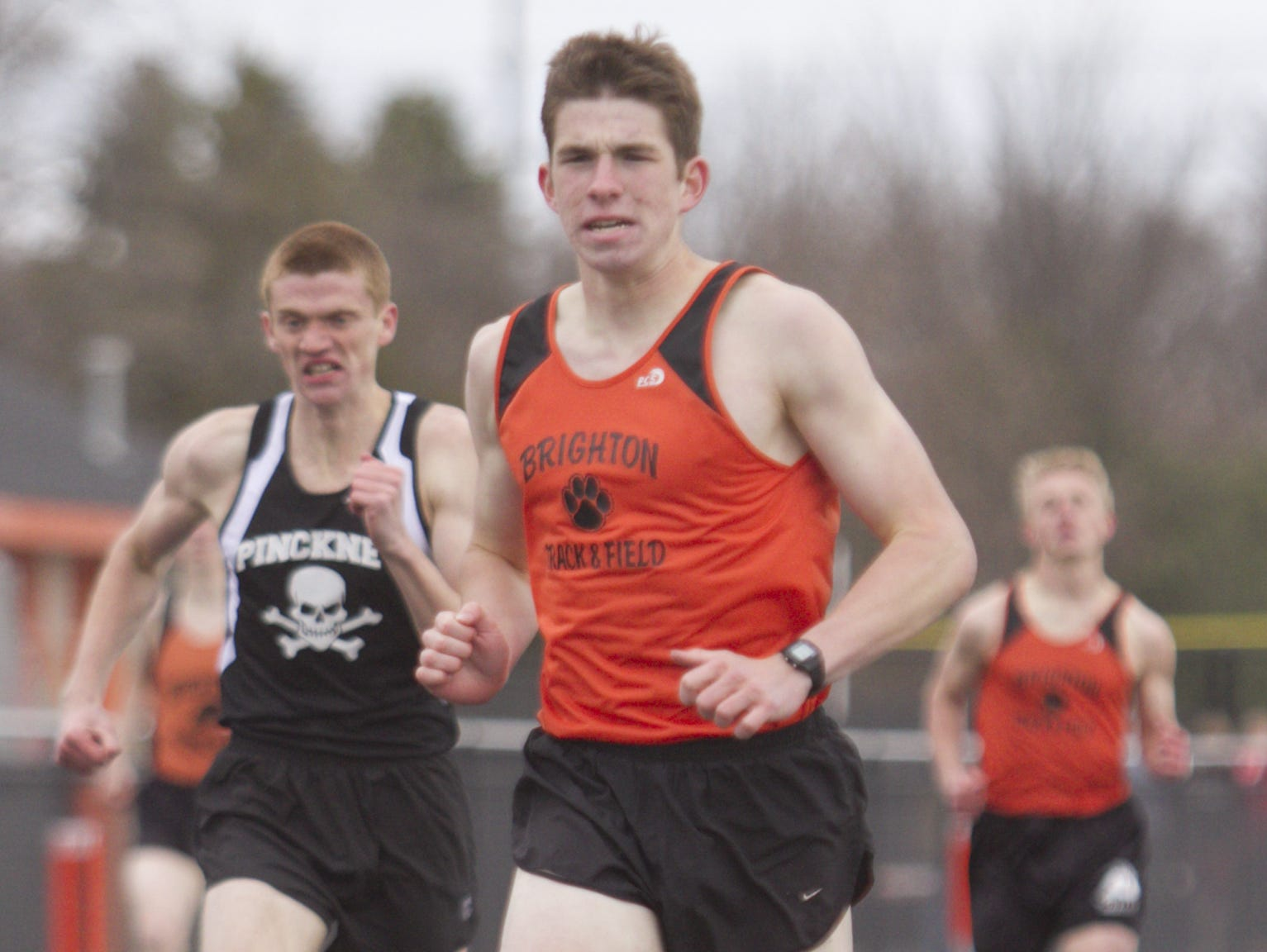 Brighton's Garrett McPeek took first in the 800- and 1600-meter runs Tuesday in what currently stands as a 64-64 tie against Hartland.