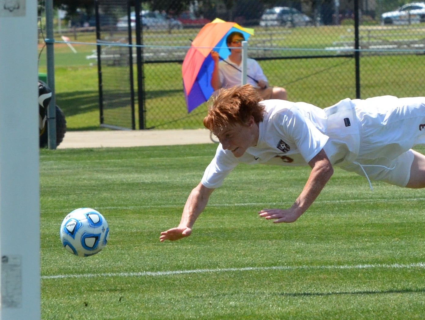 Montgomery Bell Academy's Ellis Moore attempts a potential game-tying header late in the first half of Thursday's Division II-AA state championship match against Christian Brothers at Richard Siegel Soccer Complex.