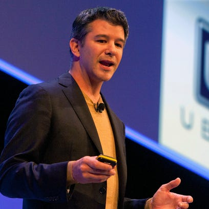 Travis Kalanick, Founder and CEO of Uber, delivers