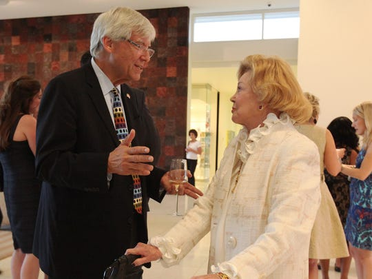 Cowan talks to Barbara Sinatra before the start of the Prince Albert II of Monaco Foundation Awards held at Sunnylands on October 11, 2014.