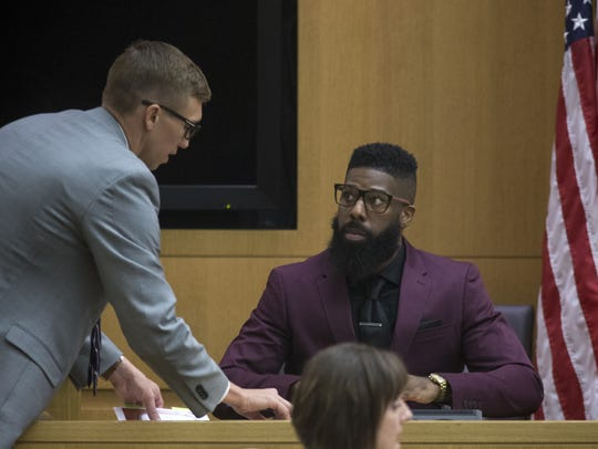 Erik Hood (right) testifies, Sept. 18, 2017, in Maricopa