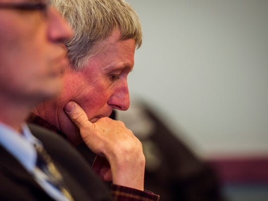 David Sawyer, father of Jack Sawyer, 18, of Poultney, waits for a judge's decision in Vermont Superior Court in Rutland on Tuesday, April 17, 2018, on whether bail or conditions of release should be set for his son, who the state says was planning a school shooting at Fair Haven Union High School. (POOL photo by Ryan Mercer / Burlington Free Press)