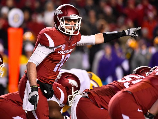 Arkansas quarterback Brandon Allen (10) calls a play against LSU during the second half last week.
