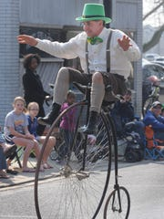 "Ed Lee of Chesapeake City, Maryland rides at Dover's St. Patrick""s Day parade in 2012."
