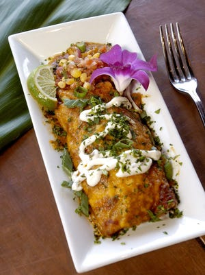 Cobia and goat cheese enchiladas by Chef Jim Shirley.