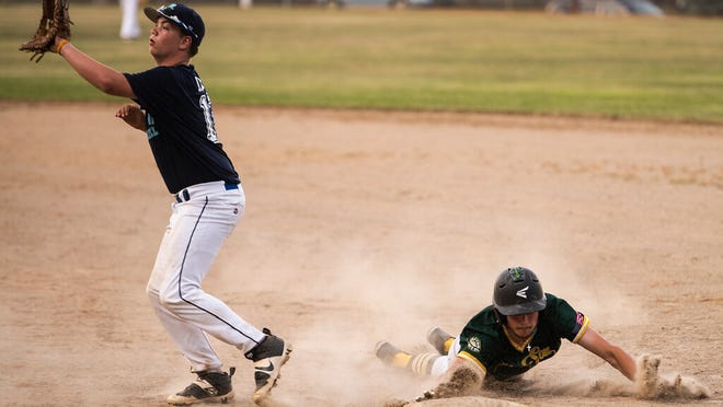 Grafton's Cam Bern, right, gets back to bag at first during a recent PNJ Senior Ruth game against Double Play.