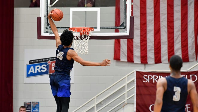 Sierra Canyon School Trailblazers player Marvin Bagley III (35) dunks and scores against the La Lumiere School Lakers at Blake Arena.