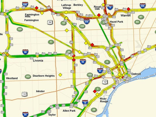 Metro Detroit Traffic Map.Snow Slick Roads Expected In Metro Detroit Overnight Friday