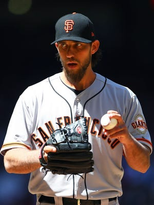 Madison Bumgarner is 0-3 in four starts with a 3.00 ERA this season with the Giants.