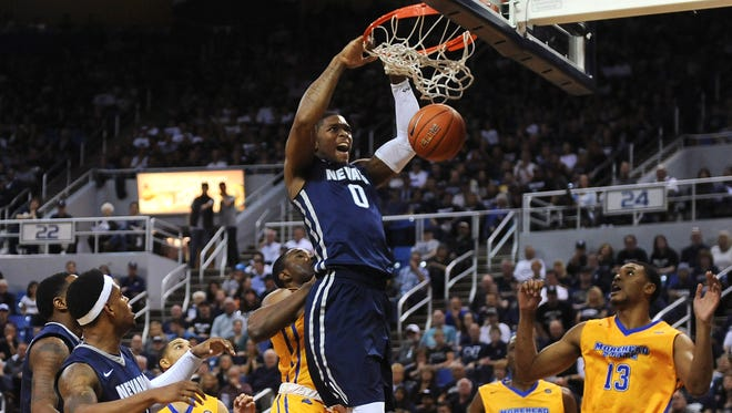 Nevada's Cameron Oliver dunks against Morehead State on Friday.
