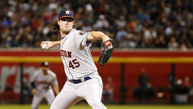 Houston Astros starting pitcher Gerrit Cole (45) shuts out Arizona Diamondbacks during a MLB game at Chase Field in Phoenix, Az., on May 4, 2018.