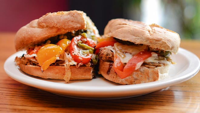 A veggie cheesesteak sandwich with house-made seitan at Melt.