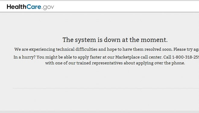 A screen grab of the HealthCare.gov website while it was down October 30.